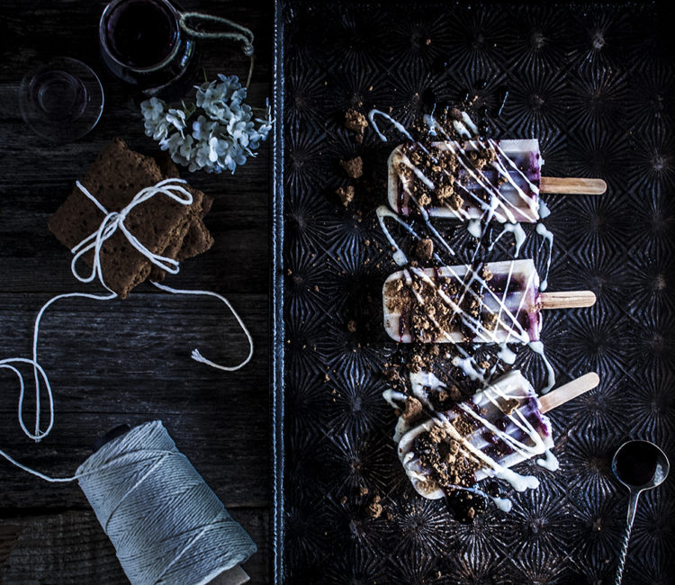 Paleo Elderflower Blueberry Pie Popsicles