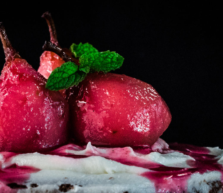 paleo poached ruby pears