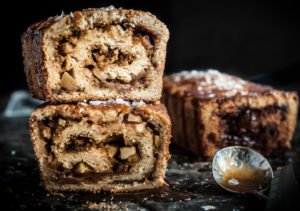 Salted Caramel Apple Babka Closed up Stacked